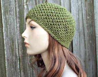 Green Crochet Hat Green Womens Hat - Chesapeake Beanie in Dill Heather Tweed - Green Hat Green Beanie Green Winter Hat