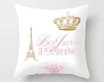 Paris Throw Pillow - Bonjour Paris Pink, gold, white throw pillow, rectangle,  Eiffel Tower, girlie, crown,  home, decor, designer