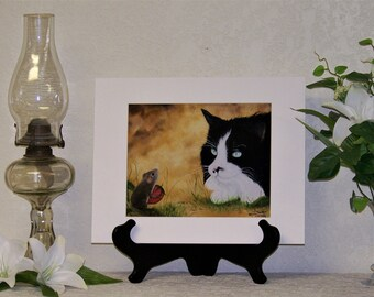 Cat Art Print, Mouse Art Print, Matted Signed Art Print, 8 x 10 inch