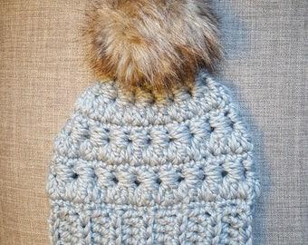 Chunky Slate Gray Hat with Brown/Tan Pom-Pom