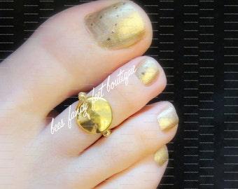 Gold Toe Ring, Gold Ring, Gold Nugget Ring, Gold Nugget Toe Ring, Ring, Toe Ring, Stretch Bead Toe Ring