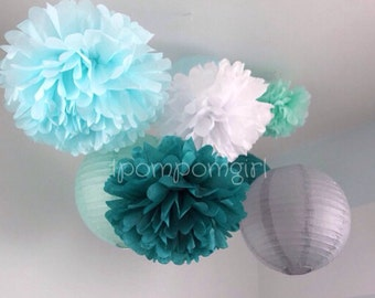 SEASIDE / 4 tissue paper pom poms/4 paper lanterns / wedding decorations, birthday decor, baby shower, bridal shower, nursery decor