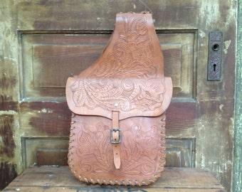 Vintage Handcrafted Distressed Tooled Leather Horse Saddle // Biker Travel Bags