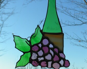 grapes and wine bottle stained glass suncatcher