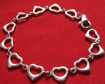 Vintage Sterling Silver Hearts Bracelet