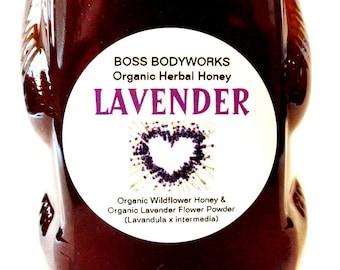 Organic LAVENDER Honey -12 oz- non-GMO, kosher, fair trade, herbal infused wildflower honey bear squeeze bottle
