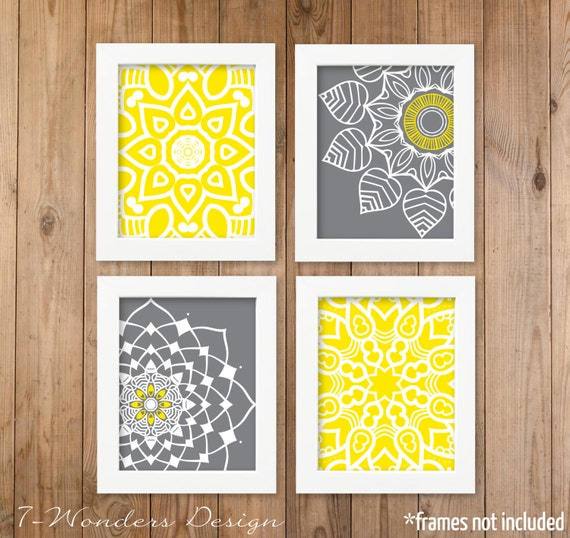 Yellow Grey Geometric Mandala Flower Wall Art Print Set of 4