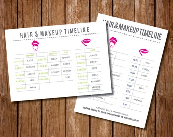 Printable Hair Makeup Itinerary