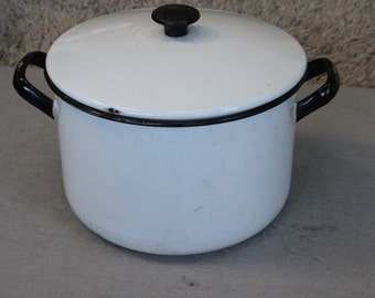 FREE SHIPPING White Enamelware Pot with lid and Black Trim