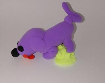 Purple dog that peed