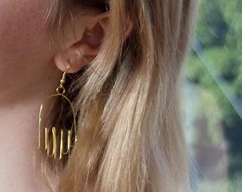 Hand shaped Wire earrings Handmade Gold/ Bronze