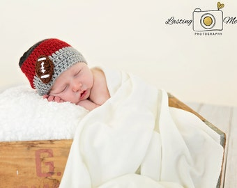 Baby Beanie Football, Red and Gray Beanie, Striped Beanie, Crochet Baby Hat