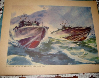1944 Arthur Beaumont's '' OUR FIGHTING NAVY '' 8 color repros of paintings for framing