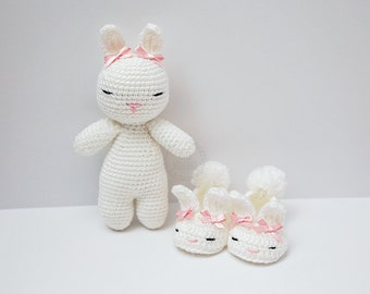 Bunny Boo Gift Set - slippers and doll - Spring - baby shower gift - Easter