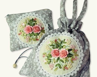 EMBROIDERED BAG SET-Adorable Heirloom Appeal With Embroidery