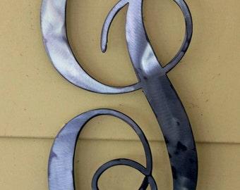 "22 inch Polished  Metal Script Letter ""J"" Door or Wall Hanging"