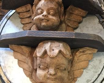 Antique Hand Carved Cherub Wall Shelves