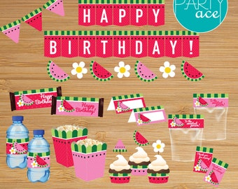 Summer Party Watermelon Printable Happy Birthday Package Picnic Summer Birthday Party Decoration