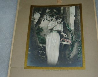Antique Vintage Calendar, 1916, Beautiful Woman,Hand Colored Photo, Alta Iowa