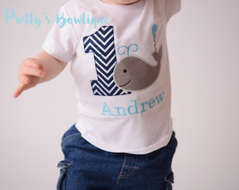 1st Birthday Whale Outfit - Whale First Birthday Outfit for Boys Ideal for Whale Birthday Party, Personalized Birthday Shirt