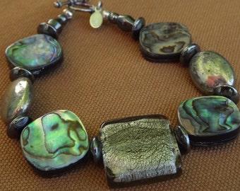Abalone, Pyrite, and Smoked Glass Bracelet