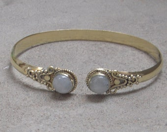 Brass Cuff Bracelet Bracelet Rainbow Stone Adjustable Bracelet
