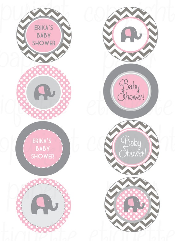 Elephant Pink And Gray Chevron Baby Shower Print Your Own