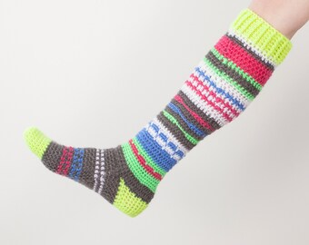Knee-High Hippie Socks CROCHET Pattern, Women's Sizes 5/6, 7/8 and 9/10 included