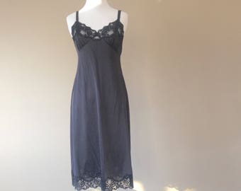 34 / Shadowline Full Slip / Dress / Black Nylon with Lace / FREE USA Shipping