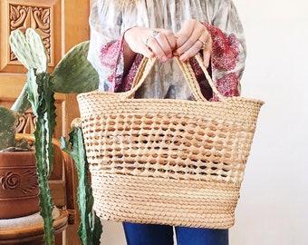 Vintage Open Wicker Straw Market Bag