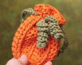 Halloween Crochet Pattern, Pumpkin Drawstring Bag, Pumpkin Treat Bag, Fall Crochet (74)
