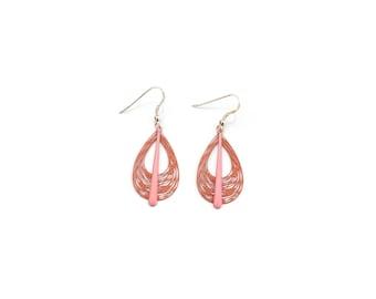 Dangle drop earrings / Silver 925 / enamel Rose drop charm / Laser cut drop Terracotta