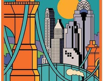 Cincinnati poster, Cincinnati wall art, Cincinnati art print, Poster, Cincinnati skyline, Cincinnati print, Wall decor, Home decor, Ohio