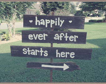 Barn Wood Happily Ever After Starts Here Sign,reclaimed wood sign,rustic wedding,outdoor wedding,personalized sign,direction sign