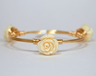 Small Cream Rose Wire Wrapped Bangle for Little Girl or Woman