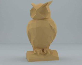 PAPER SCULPTURES  DIY owl pdf file digital product papercraft model template