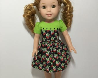 "14.5"" Doll Clothes - Bowl of Cherries Dress - To fit Wellie Wishers"