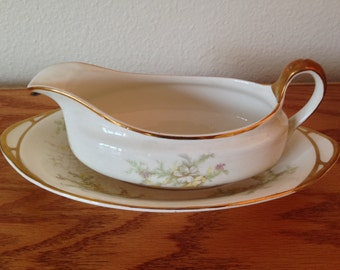 Vintage K T & K China Gravy Bowl and Saucer, Gold Trim, 1911