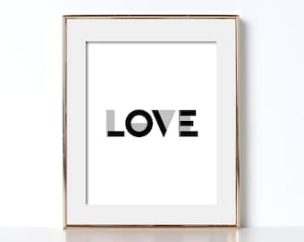 Love Print Love Poster Love Printable Digital Download Minimalist Poster Scandinavian Wall Art Love Typography Print Affiche Scandinave Art