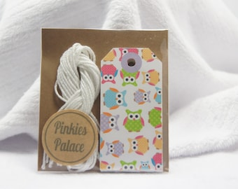 Small Owl Gift Tags Birthday Tags Favor Tags Set of 12