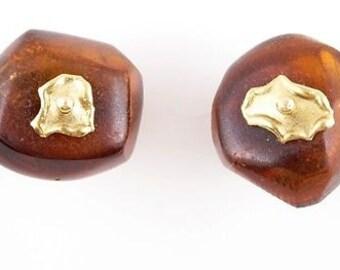14 kt Gold Baltic Amber Bead Earrings