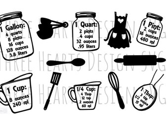Measuring Cups & Utensils Conversion SVG Image File Ready To Use