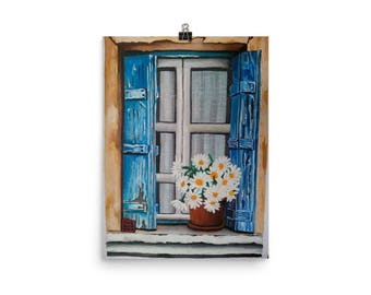 Rustic window art print/ rustic blue lakes with white friendly daisies/rustic farm wall art/ vintage art print
