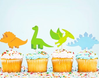 Dinosaur Party Cupcake Toppers (Set of 12)/Dino Birthday Party Supplies/Jurassic Park/Archaeologist Birthday Prehistoric Cake decoration