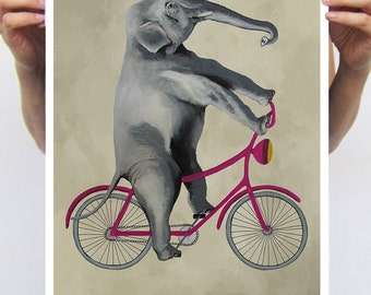 Elephant painting, print from original painting by Coco de Paris: Elephant on bicycle