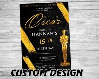 Oscar party invitation- Academy awards invitation- Oscar viewing party invites- Oscar invitation- Oscar invite