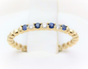 Yellow Gold Natural Diamond and Sapphire Stackable Band