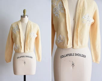 1950s Butterfly Kisses sweater / vintage 50s knit / Heady Knits of California cream knit