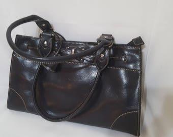 ON SALE, Black Leather Purse, Vintage Purse, Liz Claiborne, Shoulder Bag, Satchel Purse, Black Leather Bag, LC Purse, Leather Purse, Classy