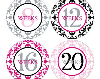 12 Weekly Pregnancy Mama-to-be Maternity Waterproof Glossy Stickers  - Monthly stickers available - Design W003-04